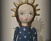 Lady Liberty    Folk Art - Americana patriotic paper mache doll Primitive OOAK
