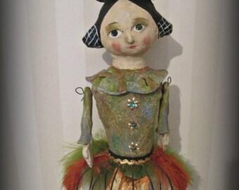 Assemblage art - papier mache- folk art - ooak doll Halloween witch doll