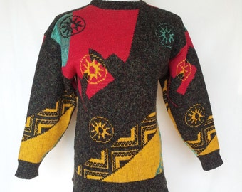 1980s Sweater, Pullover, Metallic, Geometric Celestial Designs, Small, Extra Small