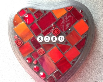 Stained Glass Mosaic Valentine Conversation Heart - XOXO