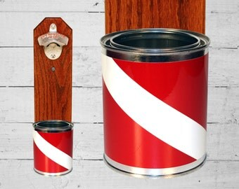 Wall Mount Bottle Opener with Scuba Flag Bottle Cap Catcher - Gift for SCUBA Diver Red & White Groomsmen and Housewarming Christmas