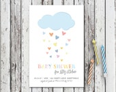 BABY SHOWER INVITATION, Printable Baby Shower invitation, Cloud party invitations, Rain Party, Cloud Typography Invitation, Rain Drops