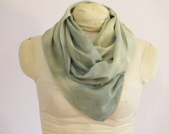 "Natural Dye Silk Scarf - Willow Green Indigo Blue - CDC111517 -  approx. 14""x70"" (35 x 177cm)"