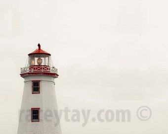 Lighthouse Print, Red, White, Beach Decor, Shabby Chic, Minimalist, Nautical Wall Art, Lighthouse Art Print