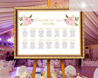 Floral Seating Chart, Calligraphy Seating Chart, Printable Watercolor Seating Chart, Seating Chart, Elegant Seating Chart,jadorepaperie