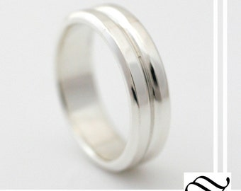 Double Band style Wedding Band - 14k gold