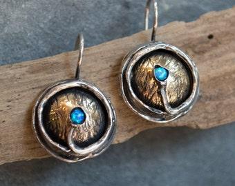 Oxidized rustic sterling silver earrings, blue opal earrings, gemstone earrings, silver yellow gold earrings - A place under the sun E7897X