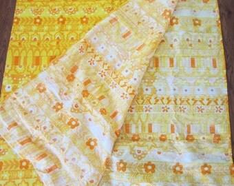 Vintage Vera Tablecloth Bright Yellow & Orange Mod Floral Design
