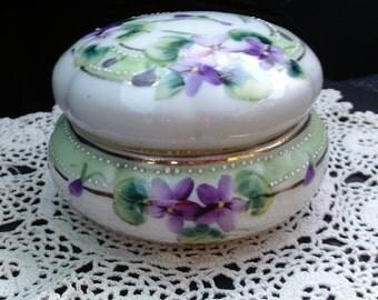 Vintage Dresser Jar, Hand Painted Purple Violets, Early 1900s, Antique Dresser Jar, Jewelry Jar, Vintage Vanity, Gift for Her
