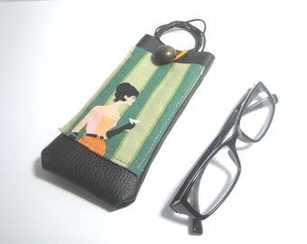 For lady hanging eyeglass case with lanyard and pocket, faux leather glasses holder, 1960s mod style, eyewear holster, glasses cover