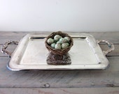 Vintage Silver Plate Footed Tray with Handles