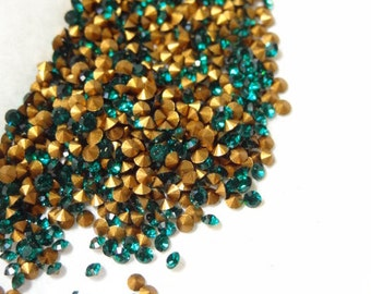 36 Vintage Swarovski Emerald Rhinestone SS5 PP11 1.70mm Tiny Rhinestones for Repair Crafts Jewelry RS54