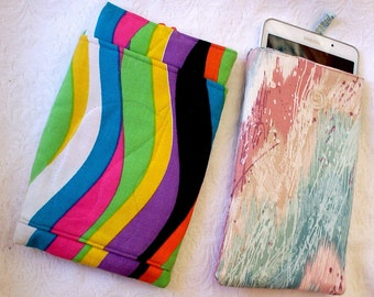 ipod Mini Sleeve with Pockets, Gadget Cover with Pockets, Tablet Case Handmade, Electronics Pouch, Galaxy Tablet Cover Sleeve, Tablet Case,