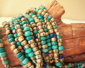 4/0 Czech aged seed bead mix, 5mm green turquoise jade striped Picasso beads, lot of (22)  inch strand-  VK417