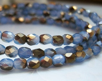 Czech 4mm wedge wood blue opal round faceted bead lot of (50) beads each - GY128