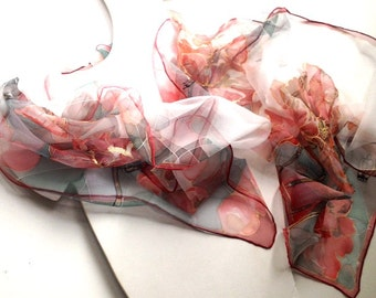 Field Of Poppies-Red silk scarf-hand painted-long red scarf-summer scarf painted-art to wear-