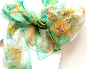 Hand painted silk scarf- Luxury silk scarf - Daffodil Dance - Green yellow daffodil motives - Chiffon silk 18x72inch