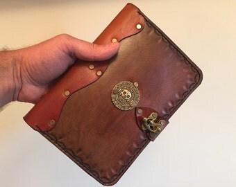 Handmade leather iPad Mini 3 case - leather iPad Mini cover - skull leather iPad case - vintage brown leather iPad cover