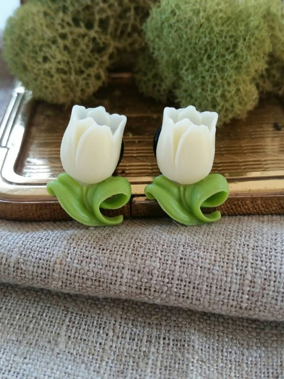 Flower Plugs, Wedding Gauges, Cream, Tulips