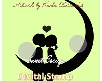 Moon Love Silhouette Digital Stamp