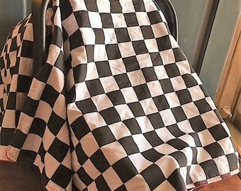 Baby Car Seat Cover, Matching Blanket, Car Seat Canopy, Custom Made To Order, Infant Car Seat Canopy, Baby Car Seat Canopy, Racing Flag