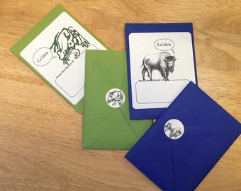 Book plates, assorted designs. 18 bookplates with envelope. Choose any assortment of available motifs.