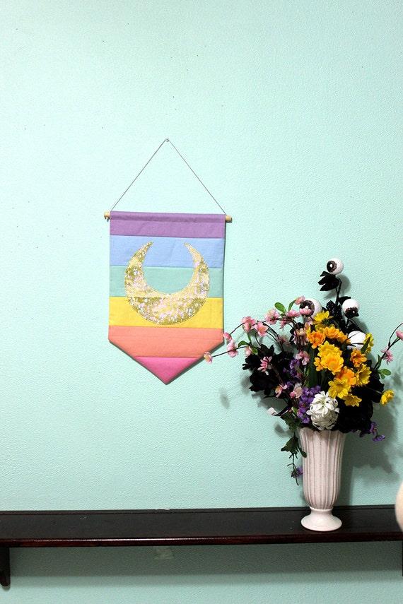 Moon or Star Rainbow Kawaii House Sigil Handmade Wall Flag