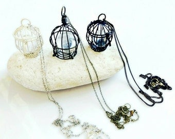 Cage Necklace, Quartz Pendant Necklace, Bird Cage Necklace, Quartz Sphere in a Cage