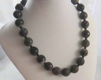 Chunky Black Necklace Cobra Agate and Onyx Necklace Gemstone Necklace Statement Bold Snake Womens Fashion Jewelry