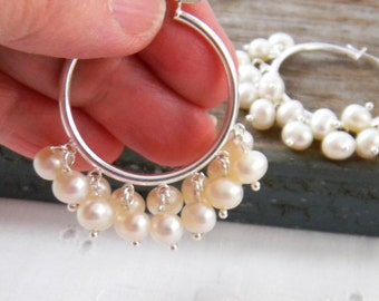 Hoop Earrings Pearl, Freshwater Pearls or Crystal Pearls, Sterling Silver Hoop Earrings, Bridal Jewelry, Wedding Jewelry