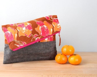 Fold over Clutch, Evening Bag, Zipper Purse, Everyday Clutch, Women's Purse, Zipper Pouch in Gray Linen with Brown and Pink Floral Fabric