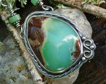 Chrysoprase and Silver Necklace Handmade