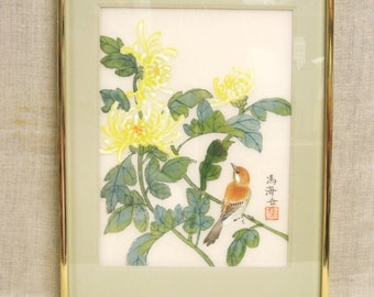 Floral Painting , Bird Painting , Nature Painting , Painting on Silk , Asian Style , Framed Painting , Original , Handmade , Hand Painted