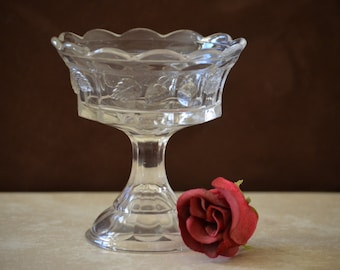 Pedestal Compote Dish--Antique Northwood Strawberry & Cable Clear Compote Bowl--EAPG Pedestal Compote Dish 1900