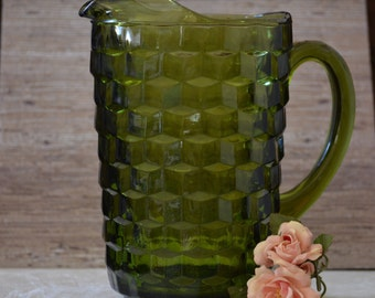 Whitehall Pitcher in Avocado Green by Colony/58 Ounce Lemonade Pitcher/Cube Design Barware Pitcher/1964