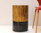 RESERVED LISTING for WILLIAM - Black Paint Dipped Tree Stump Side Table Stool Seat