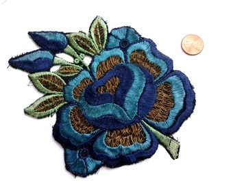 Large 1920s Floral and Gold Metallic Embroidered Applique in Blue, Green, Cream - Embroidered Trim - Antique Applique - Antique Trim