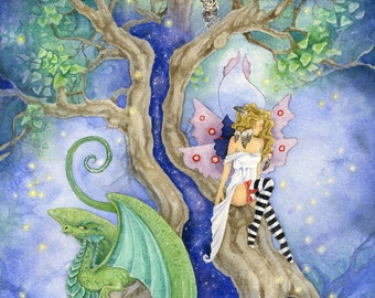 Evening Tree - Fairy Art Original Watercolor Painting - 11x14 - fantasy. whimsical. dragon. fairy tale. tree. magical.