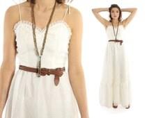 Vintage 70s Maxi Dress Hippie Wedding Dress Sleeveless Sheer White Floral Bohemian Dress 1970s Small S Sundress