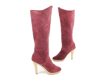 Vintage 70s Maroon Suede Boots Knee High Tall Heeled Womens Shoes 1970s Size 6 Leather