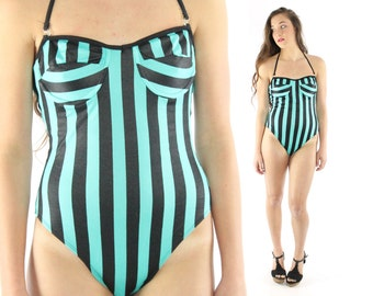 Vintage 80s One Piece Swimsuit Turquoise Black Striped Tank Suit Strapless 1980s Medium M High Cut Bathing Suit Swimwear