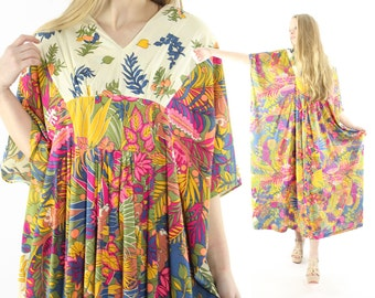 Vintage 70s Animal Print Caftan Dress Maxi Short Sleeve Tunic 1970s Small S Medium M Large L Hippie Boho Bohemian Festival Fashion