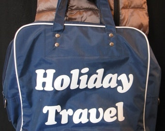 Vintage 70s Holiday Travel Tote Bag, Carry-on, Blue & White Vinyl