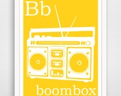 B is for Boombox 8x10 inch print - Instant Download Printable