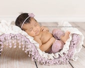 EVELYN. Dusty Lavender. pants. Leggings. Newborn. Stretch Lace Fabric. Photograpy Prop. Headband. Pearl Bracelet. Tolola Design.