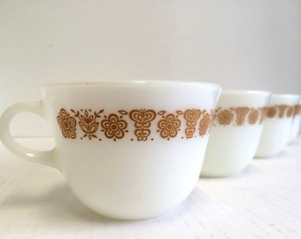 Pyrex Butterfly Gold Coffee Cups Pyrex Corning Butterfly Gold Mid Century Modern Retro Set of 4 Vintage 60s