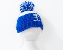 Colts Cap, Baby Hat, Indianapolis Hat, Indianapolis Colts Football Hat, Colts Colors Hat, Crochet Hat - Ready to Ship (3 to 6 mos)