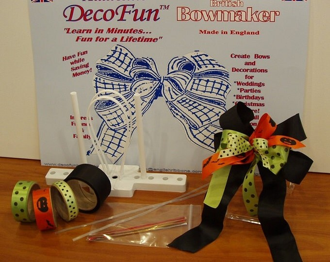 DecoFun Bow Maker HALLOWEEN RIBBON Starter Kit- 3 Simple Steps DIY easy, fun bows for Party Favors, Decorations, Food Gifts, Wedding, Shower