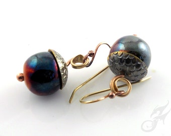 Acorn Metalwork Earrings with 15mm Hand Rolled Raku Fired Ceramic Beads on Flame Patina Red Brass E0825 by Robin Taylor Delargy