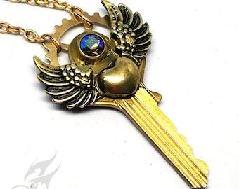 Steampunk Key Necklace w/ Winged Heart & Swarovski Starlight Rhinestone in Hex Nut Setting ~ Brass Grear ~ Repurposed Key #N0669 by RTD